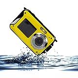 PowerLead ダブルスクリーン防水デジタルカメラ2.7インチカメラ付き2.7インチフロントLCD (黄)