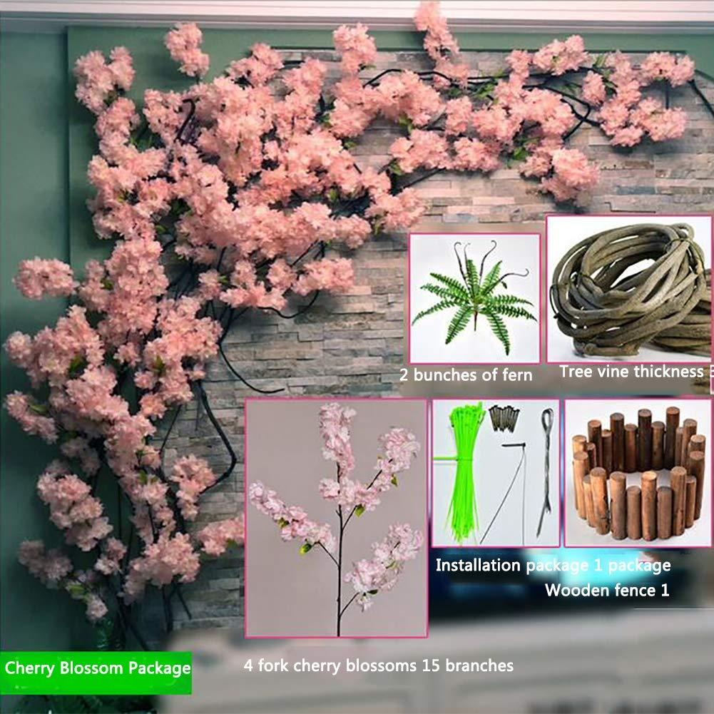 XMQW Gorgeous Artificial Flower Pink Cherry Blossom Tree Fake Vines Flowers  Home Decor Silk Sakura