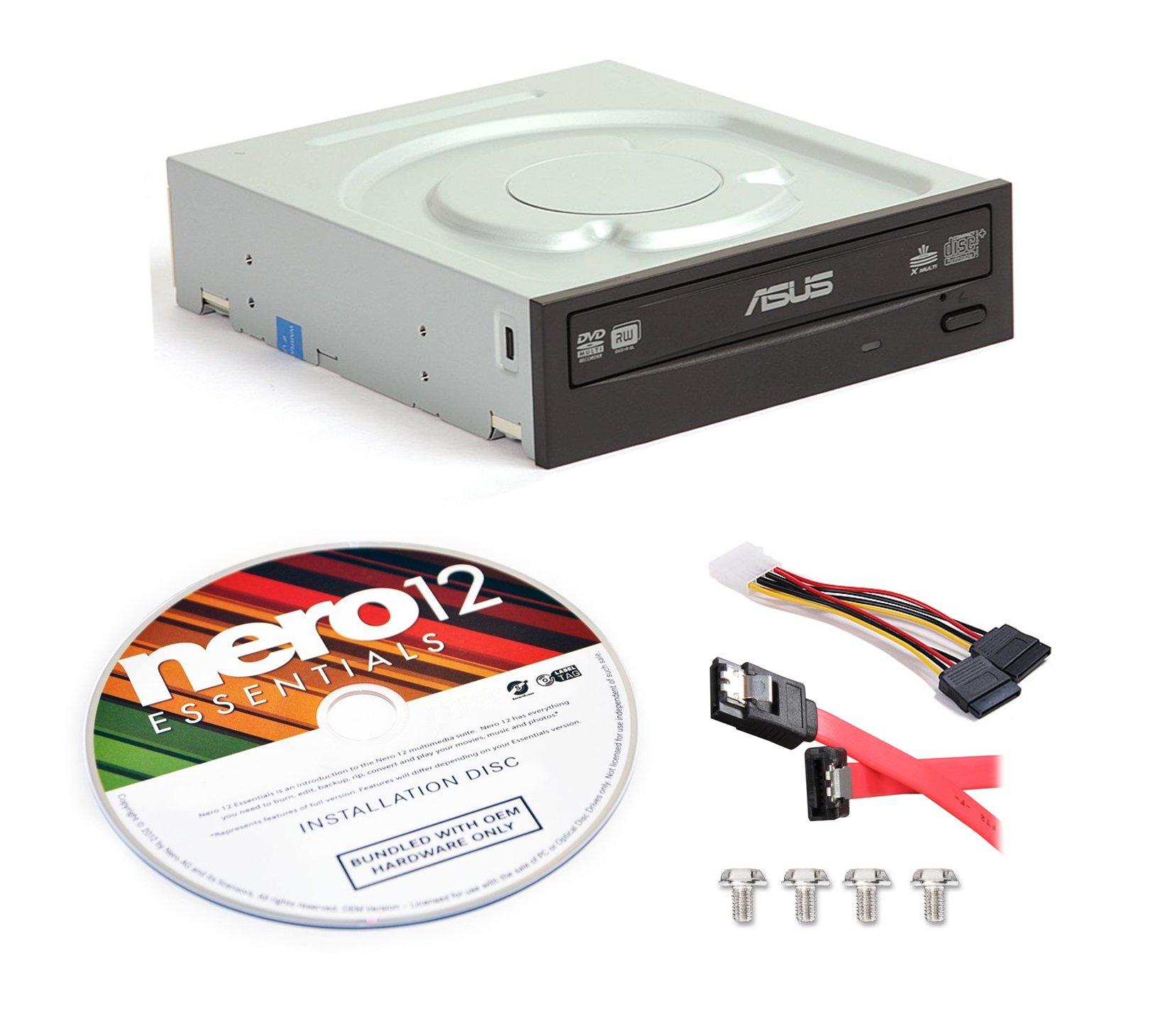Asus DRW-24B1ST-KIT 24x Internal DVD Burner + Nero 12 Essentials Burning Software + Sata Cable Kit by BestDuplicator