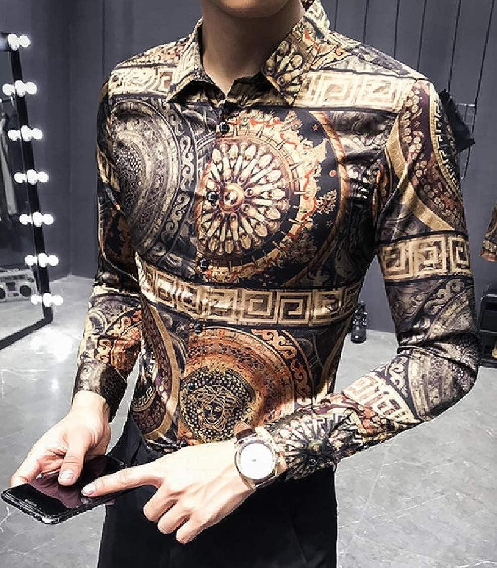 Sweatwater Mens Retro Turn Down Long Sleeve Printing Dress Button Down Shirts