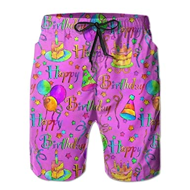 bb89ed9d08 Colored Happy Birthday Men's Swim Trunks Quick Dry Beach Shorts Beach  Surfing Running Swimming Swim Shorts