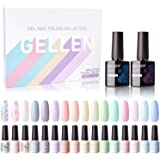 Gellen 16 Colors Gel Nail Polish Kit, With Top Base Coat - Fresh Macaron Girly Colors Collection, Popular Bright Nail…
