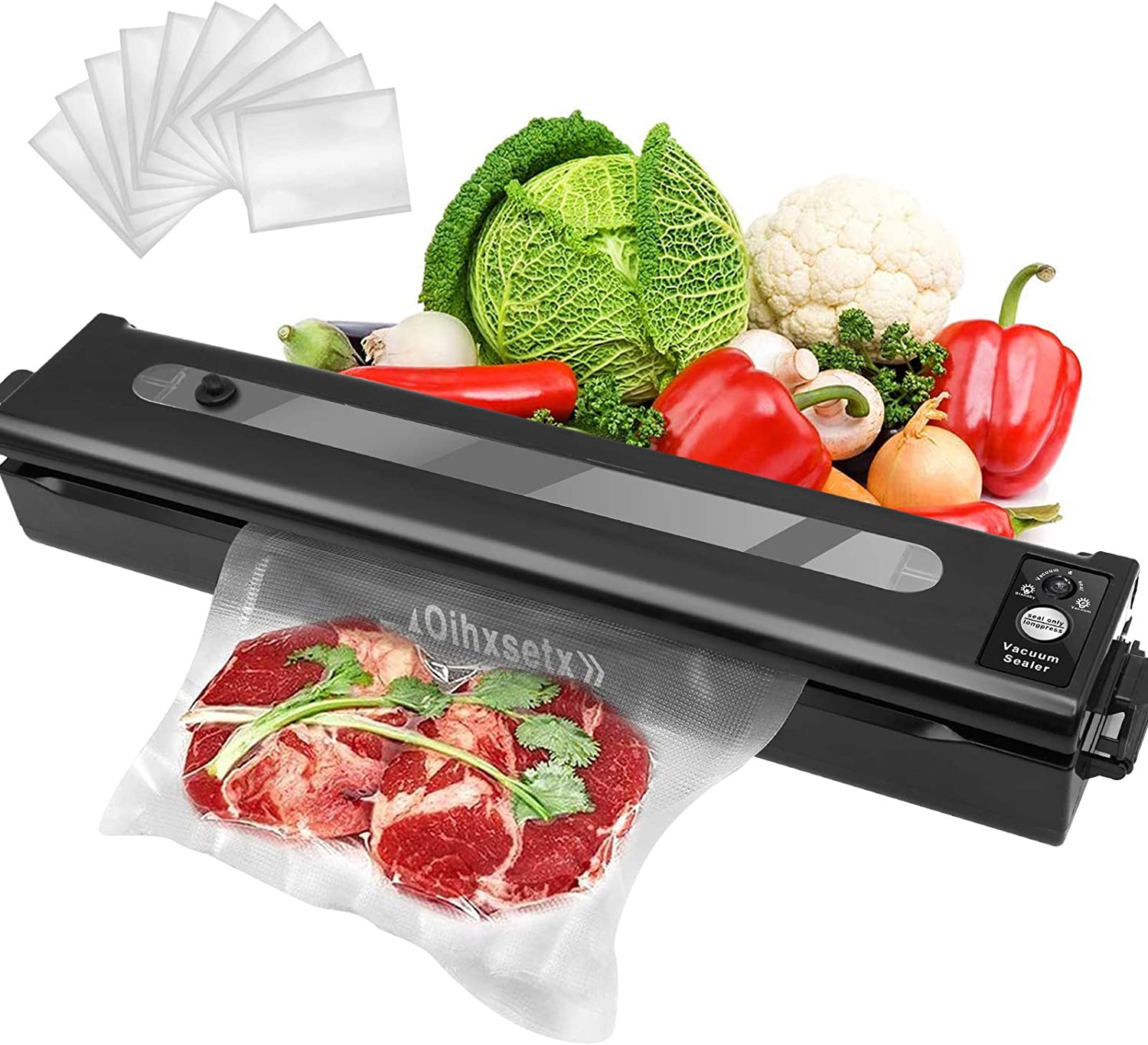 Vacuum Sealer Machine, Automatic Food Saver Machine Sealer with 10 Vacuum Bags, Dry & Moist Food Modes/Easy to Clean/Led Indicator Light/Compact Design