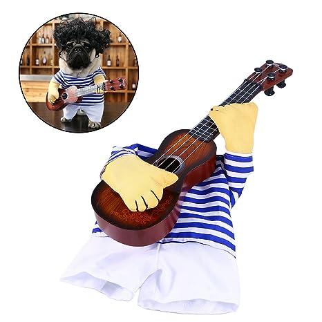 Ropa para mascotas Cantante divertido Disfraz de perrito Gato de perro Tocando la guitarra Disfraz de