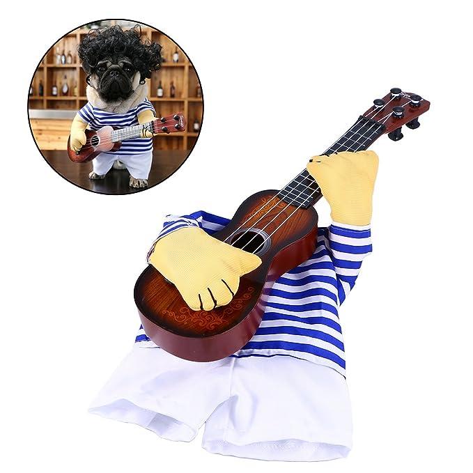 Ropa para mascotas Cantante divertido Disfraz de perrito Gato de perro Tocando la guitarra Disfraz de Halloween Coslay Fiesta Regalo de Navidad Talla M Para ...