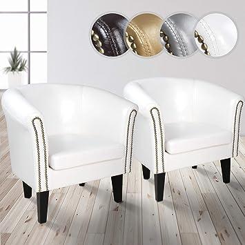 Miadomodo - Sillón Chesterfield Elegante en Juego de 2 Piezas Disponibles en Color Blanco