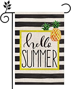 CROWNED BEAUTY Hello Summer Garden Flag Stripes Pineapple 12×18 Inch Double Sided Vertical Yard Outdoor Decoration CF166-12