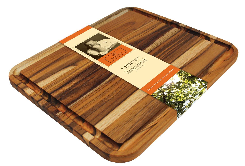Madeira Mario Batali M-05 Edge Grain Teak Carving Board, X-Large by Madeira