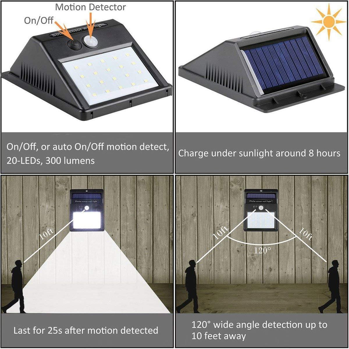Greatangle 2 Teile//Satz 20 led solarleuchten Motion Sensor Wandleuchte Outdoor Garten Hof Lampe wasserdicht Outdoor wasserdicht licht