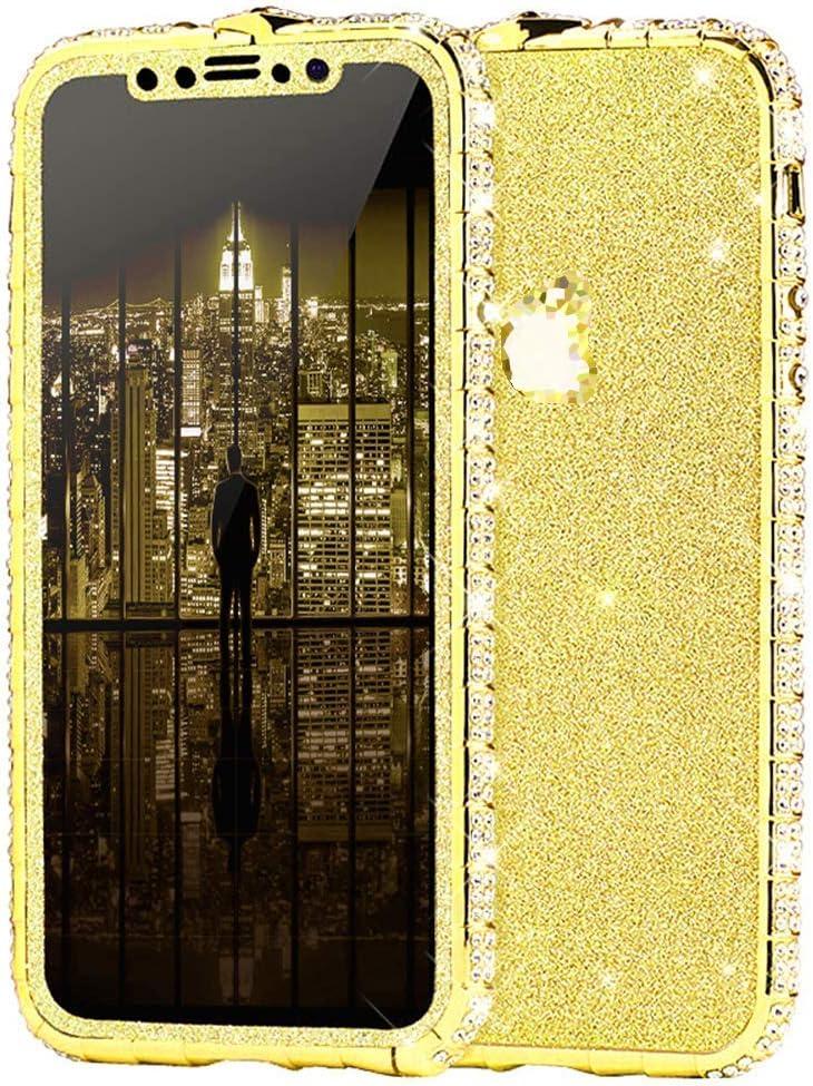Herbests Kompatibel mit iPhone X H/ülle Bling Gl/änzend Glitzer H/ülle Strass Diamant Handyh/ülle Kratzfest Schutzh/ülle Tasche Crystal Case Aluminium Rahmen Metall Bumper,Schwarz