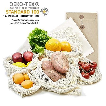 achilles bolsos de fruta y verdura, Redes de frutas y verduras, Bolsa de tela, Bolsa de compras, Conjunto de 6 bolsas de compra incluyendo estuche ...