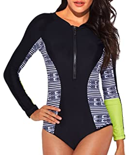 fbeea246d3450 Funnygirl Women s Rashguard Long Sleeve Zip UV Protection Print Surfing Swimsuit  Swimwear Bathing Suits