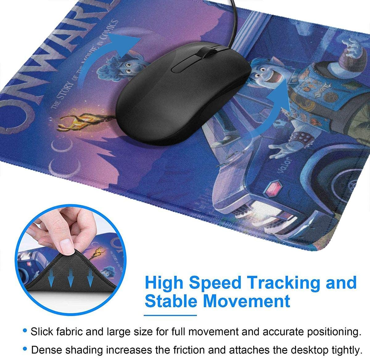 Smooth Cloth Non-Slip Rubber Base Art Printed Pattern Mouse Mat with Stitched Edges,On-Ward Merch On-Ward Mouse Pad