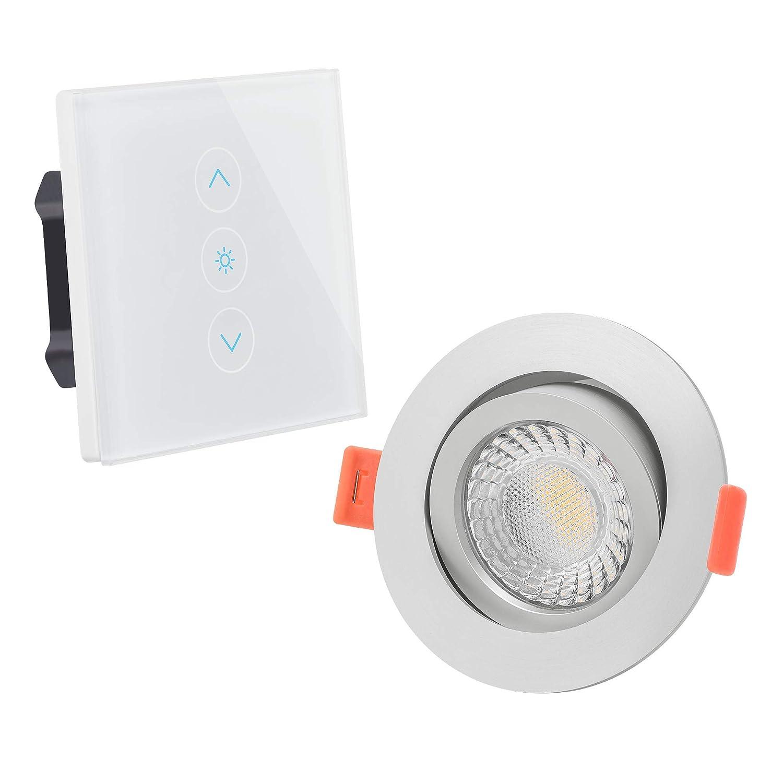 LUXVENUM   20er-Set anschlussfertiges 230V Alexa Echo Glasschalter Komplettset LED-Einbaustrahler extra flach 25mm 5-100% dimmbare Lichtfarbe 1800-3000K 95 Cri 7W statt 70W mattes Aluminium & Reflektor rund