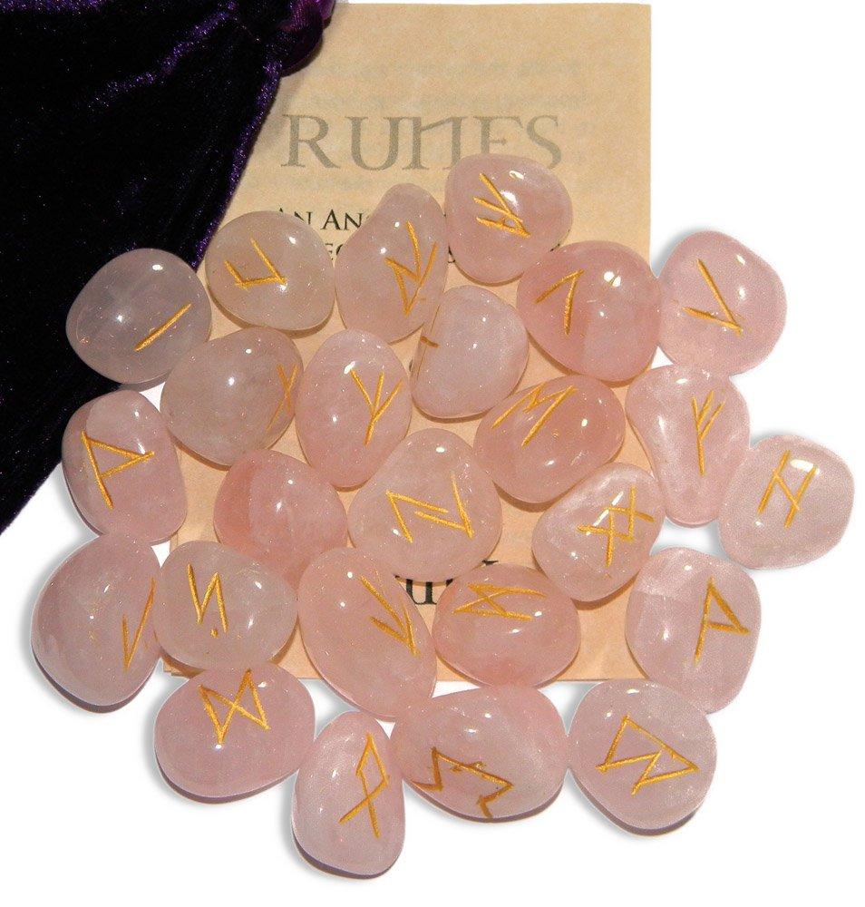 Rose Quartz Love Gemstone Runes with Engraved Lettering, Instruction Leaflet and Velvet Pouch