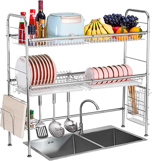 Amazon Com Dish Drying Rack Over The Sink With Drain Board 304