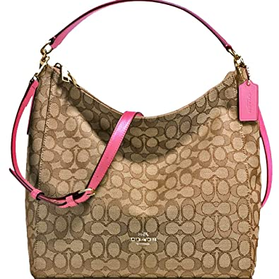 53086c3410 Amazon.com: SALE ! New Authentic COACH Outline Signature Beautiful  Khaki/Strawberry Pink Hobo, Shoulder Bag, Crossbody: Shoes