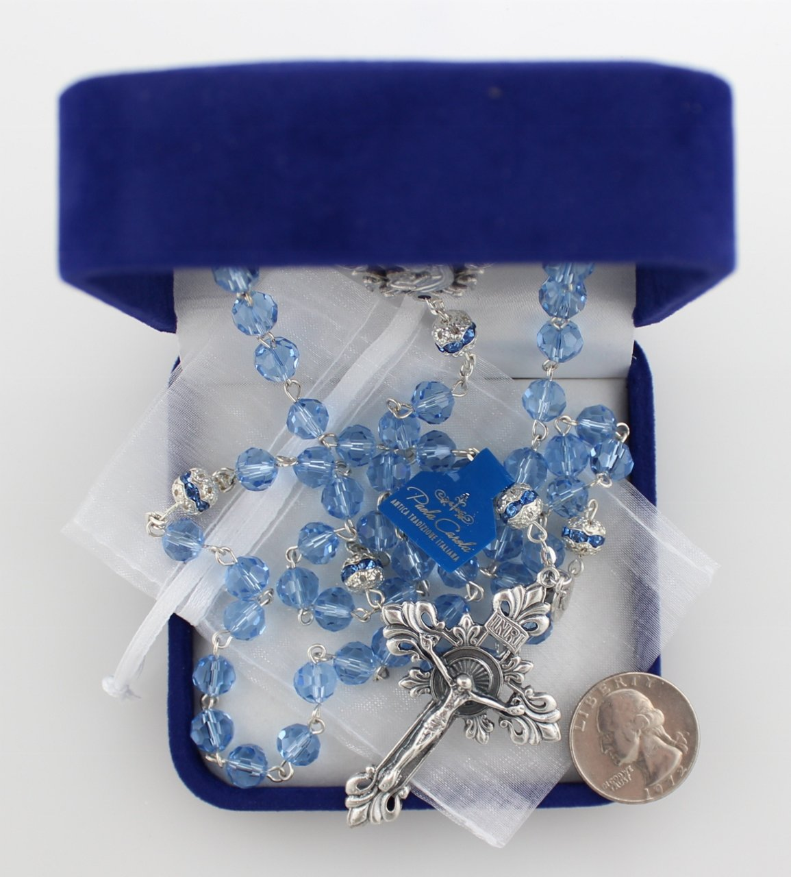 8mm Diamond-Cut Sapphire Crystal Bead Rosary designed by Paola Carola with Miraculous Medal dangle and White Organza Bag in Deluxe Rosary Gift Box