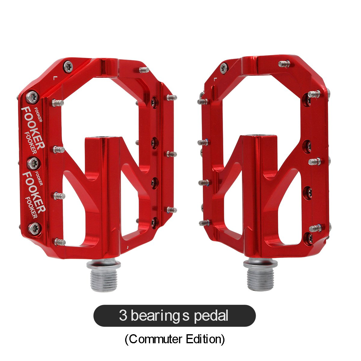 FOOKER Bike Pedals Non-Slip Aluminum Alloy MTB Mountain Bike Pedals 3 Bearing 9/16'' for Road BMX MTB Fixie Bikes by FOOKER (Image #4)