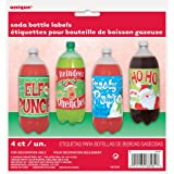 Merry Christmas Pop Bottle Labels, Assorted Pack of 4