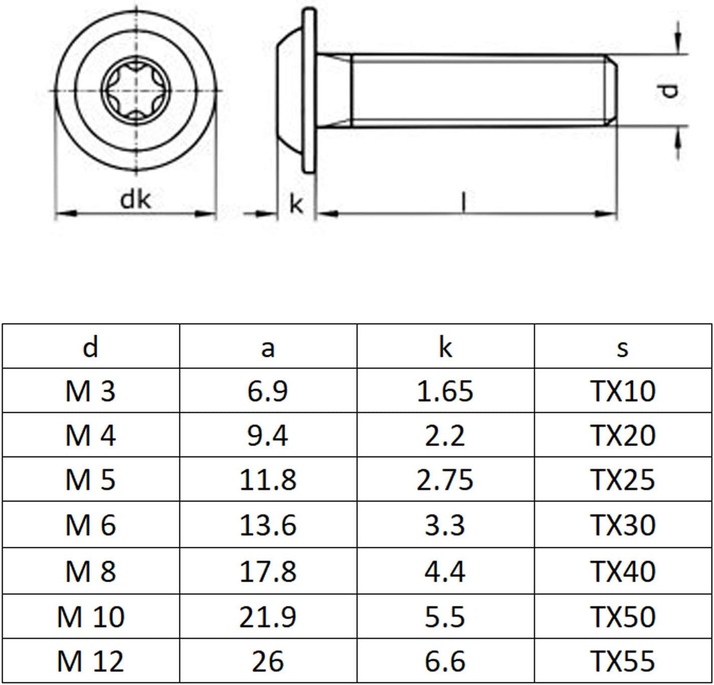 ISO 7380 ISR rostfreier Edelstahl A2 V2A 30 St/ück BiBa-Schrauben Linsenschrauben M3x3 | Vollgewinde Linsenkopfschraube Flansch Flachkopfschrauben | Innensechsrund TX