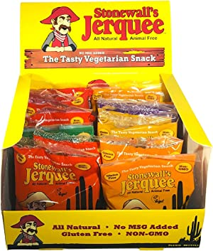 Stonewall's Jerquee, Variety Pack, Vegan Jerky / Vegetarian Jerky, Comes in Stonewall's Box, 1.5 Ounce (Pack of 16)