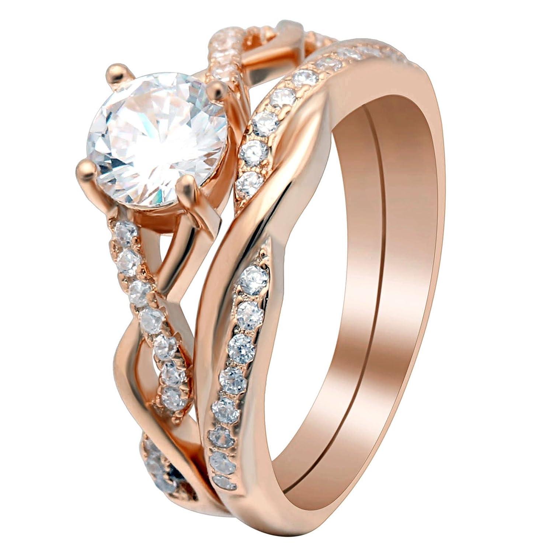 Ginger Lyne Collection Queena Rose Gold Over Sterling Engagement and Wedding Band Ring Set GLK Enterprises Queena Rose Set
