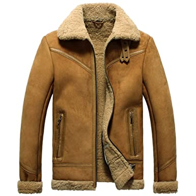 5558a899 CWMALLS Men's Sheepskin Shearling Flight Bomber Jacket: Amazon.co.uk ...