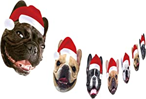 French Bulldog Christmas Garland, Dog Face Christmas Hanging Decorations Clearance