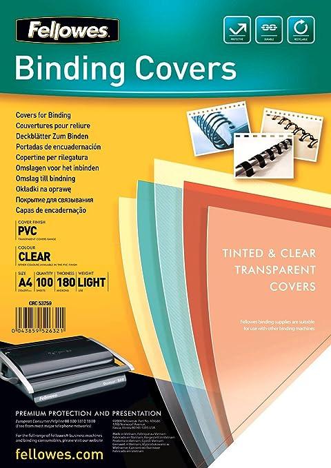 68 opinioni per Fellowes Copertine per Rilegatrice in PVC trasparente, 180 mic, 100 pezzi, A4