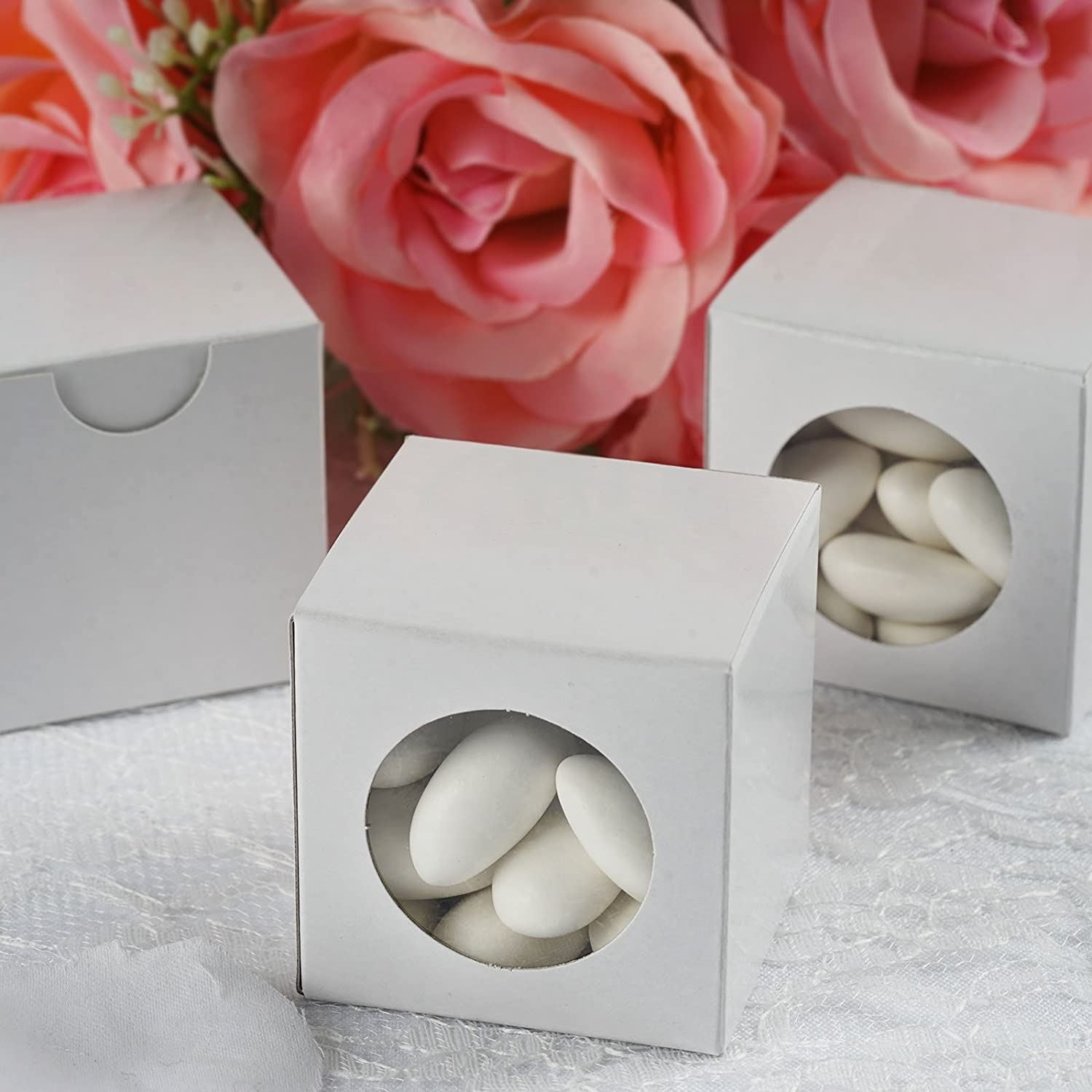 Amazon.com: BalsaCircle 100 Wedding Favors Boxes with a Clear Window ...