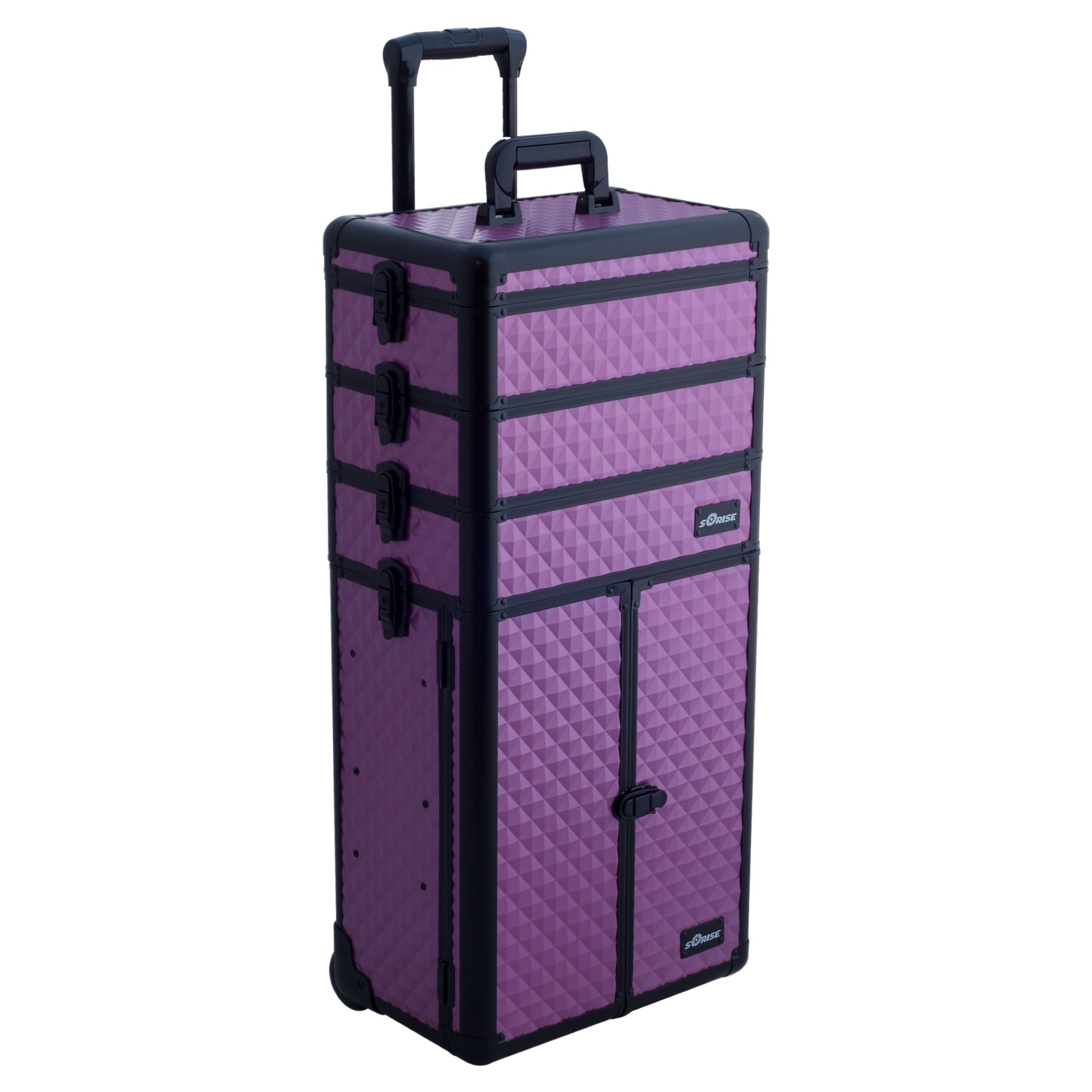 SUNRISE Makeup Case on Wheels 4 in 1 Professional Organizer I3366, 3 Stackable Trays and 2 Drawers, Locking with Mirror, Purple Diamond