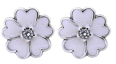 Bluebird White Primrose Flower Stud Earrings in 925 Sterling Silver and white enamel dY0Lb8VER