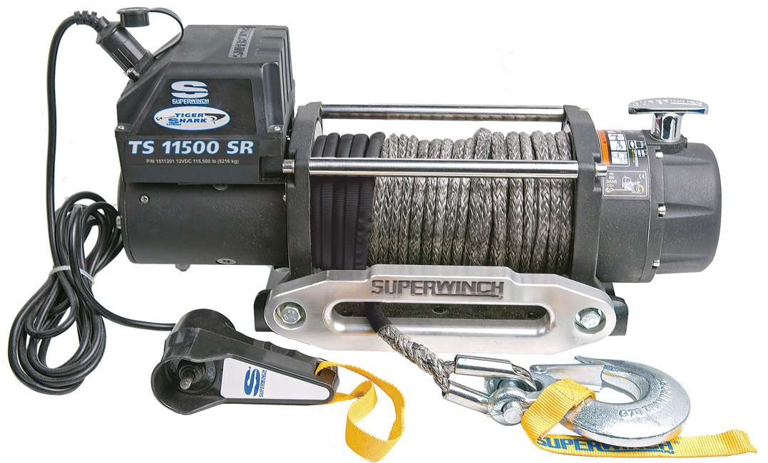 Superwinch 1511201 Tiger Shark 12V Winch with Aluminum Hawse and Synthetic Rope - 11500 lb. Load Capacity