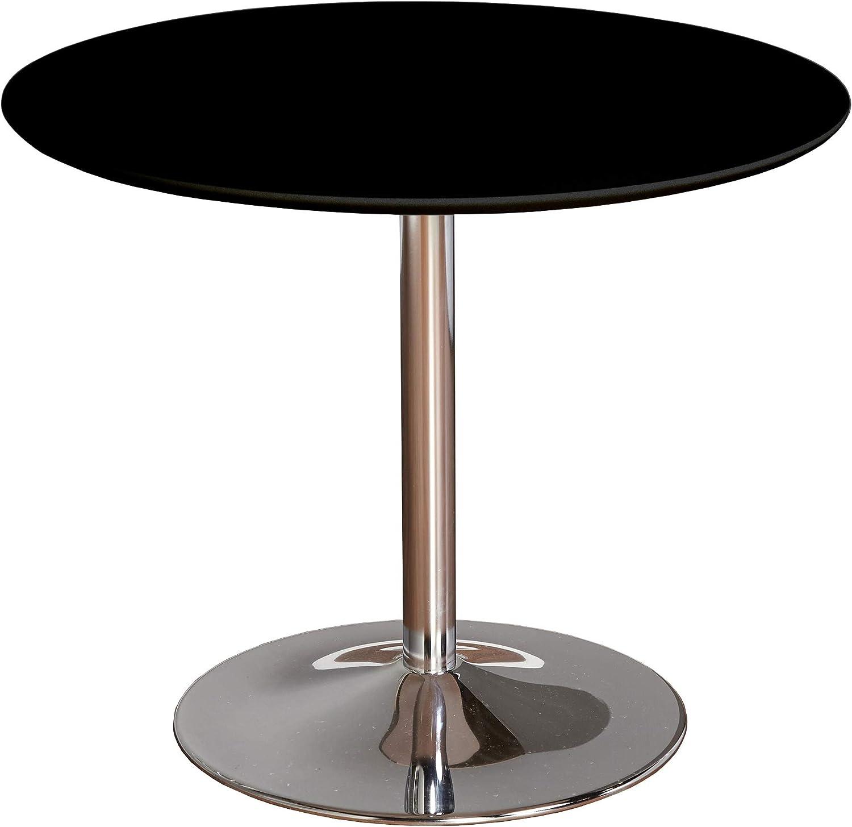 "TMS PISA Modern Retro Round Dining Table, 35.4"" W, Black"