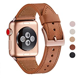 WFEAGL Compatible iWatch Band 42mm 44mm, Top Grain Leather Band with Gold Connector(The Same as Series 4/3 with Gold Aluminum Case in Color)for iWatch Series 4/3/2/1 (Brown Band+Gold Connector, 42mm 44mm)