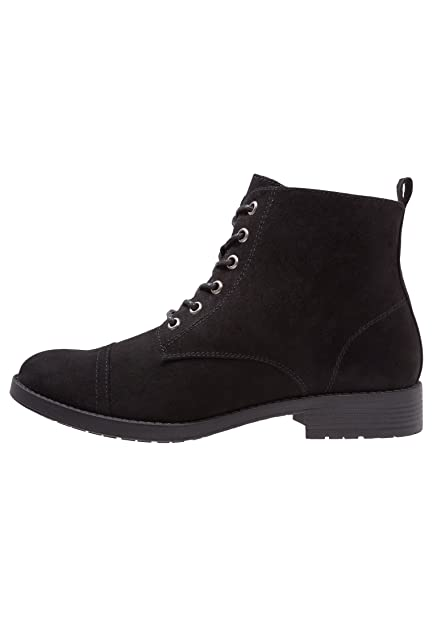 9610ba155a0e88 ANNA FIELD Ladies Ankle Boots - Lace Up Chelsea Boots in Black