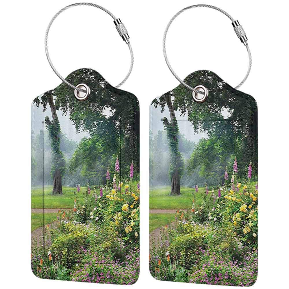 Small luggage tag Country Home Decor Collection Vibrant Colored Flowers Trees in an English Park Morning Haze Foggy Sunrise Image Quickly find the suitcase Green Yellow Lilac W2.7 x L4.6