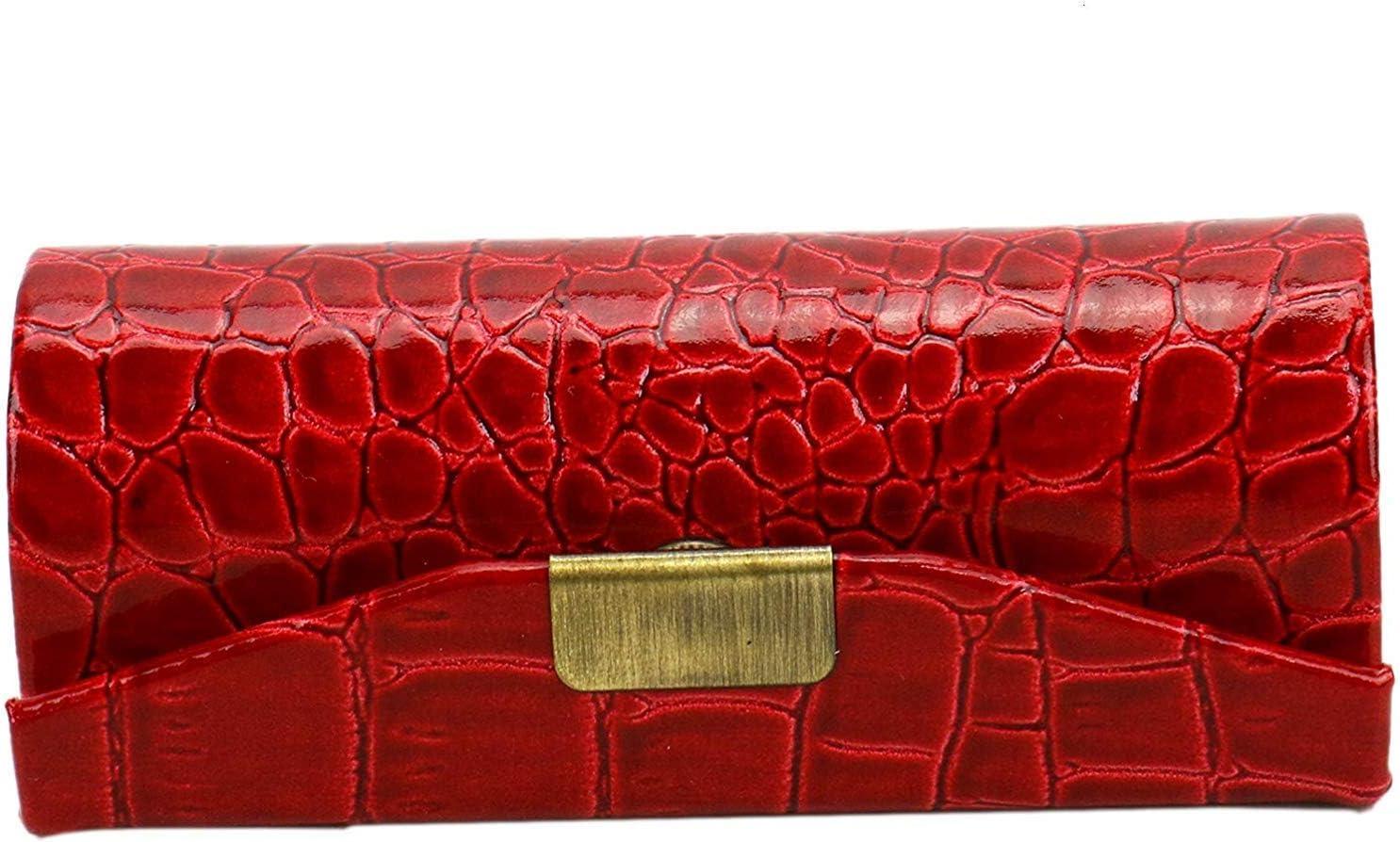 Estuche para pintalabios, ICEBLUEOR de piel para pintalabios, duradero, impermeable, con cierre de botón y kit de almacenamiento de cosméticos de espejo (rojo): Amazon.es: Belleza