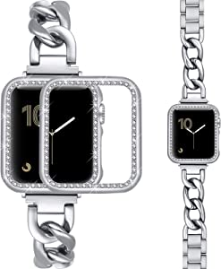 Dilando Bracelet Compatible with Apple Watch Band Stainless Steel Chain 38mm 40mm 42mm 44mm with Bling Case Women, Metal Link Bands with Diamond Case for Iwatch Series SE 6 5 4 3 2 1 (Silver, 38mm)
