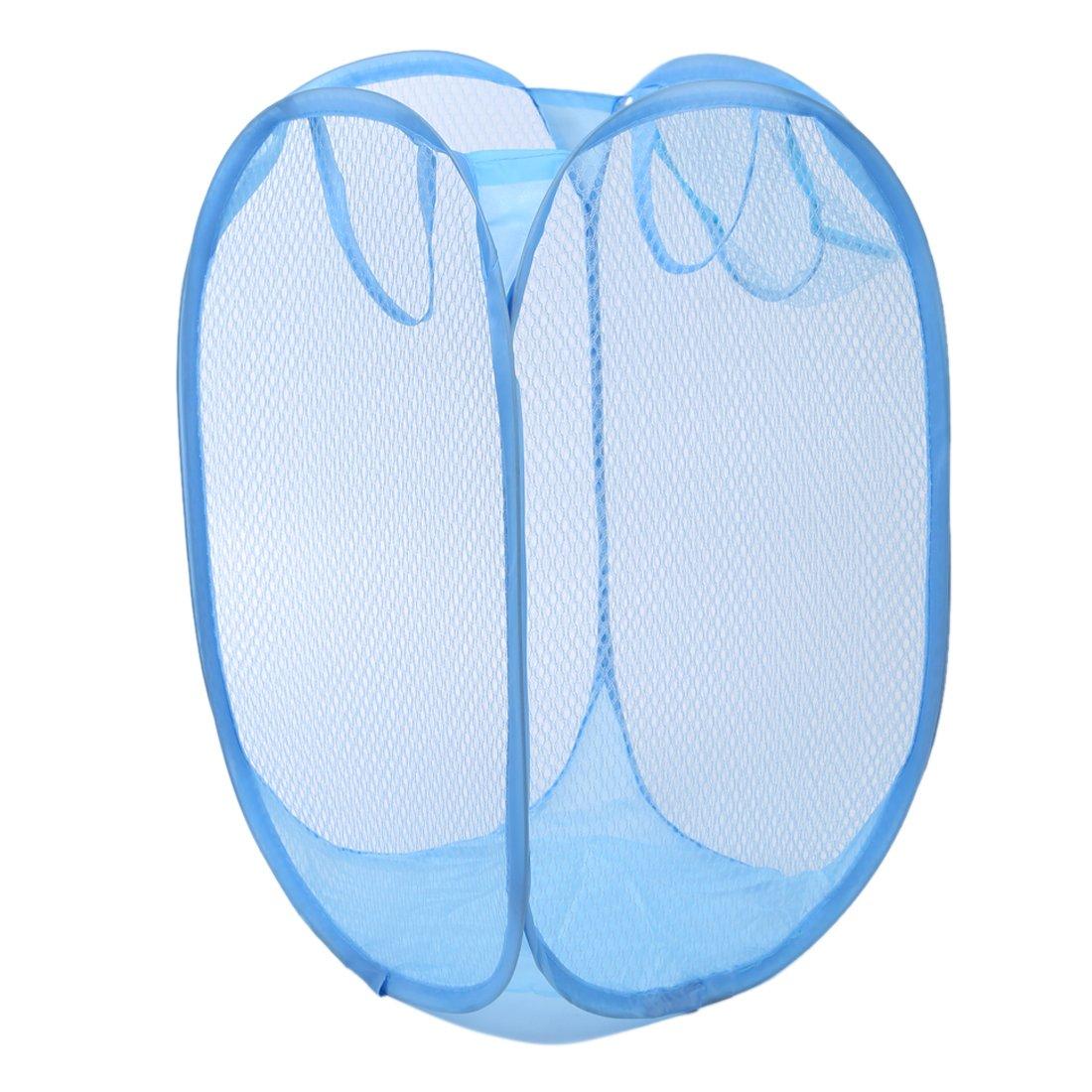 TOOGOO(R) Laundry Folding Square Basket Pop Up Hamper Clothes Storage Bin white Mesh fabric