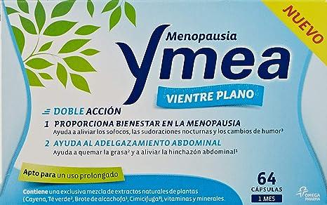 Ymea Menopausia Vientre Plano - Ayuda a aliviar los sofocos, las sudoraciones y al adelgazaminto abdominal - Tratamiento 1 mes - 64 cápsulas