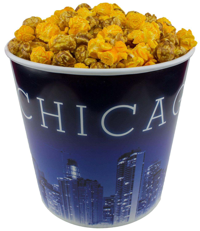 Signature Popcorn - Gourmet Cheddar Cheese Caramel Mix - 1-Gallon Blue Chicago Skyline Reusable Plastic Bucket Tin