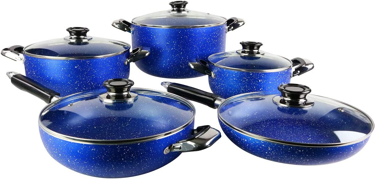 10pc Marble Dutch Oven Set With Bakelite Handle And Spiral Bottom (blue)
