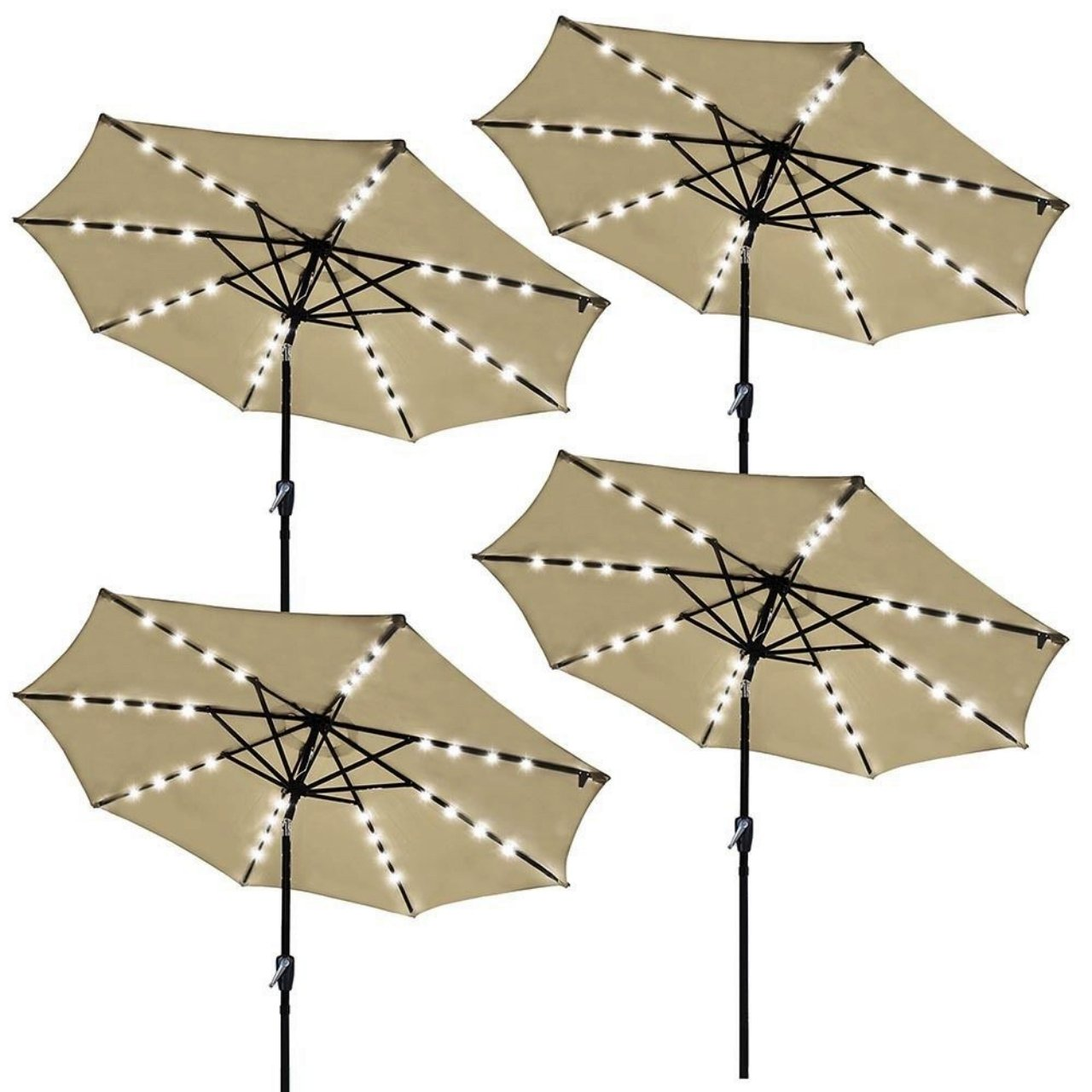 9ft Outdoor Patio Solar Power LED Aluminium Umbrella Sunshade UV Blocking Hand-Crank Tilt - Set of 4 Beige #931