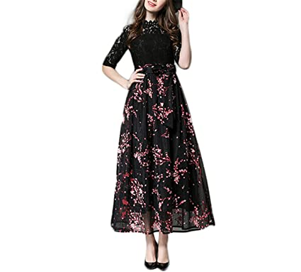 Designer Runway Summer Dress NEW Women Elegant Lace Patchwork Long Maxi Dress Ball Gown Slim Tunic
