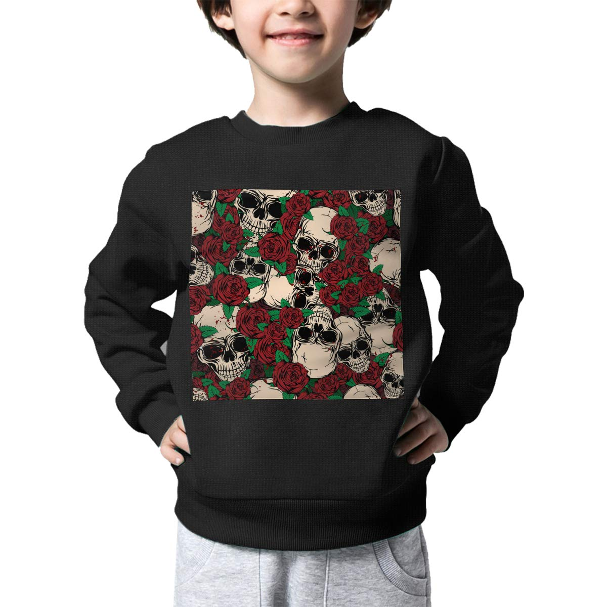 NJKM5MJ Boys Girls Skulls and Roses Pattern Lovely Sweaters Soft Warm Childrens Sweater