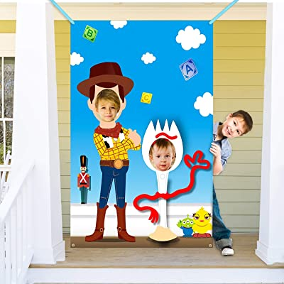 Ticiaga Toy 4th Photo Door Banner, Large Fabric Fork Face Photography Banner Background, Pretend Play Party Game Photo Props Backdrop Props, Toy Inspired Story Theme Party Favor Supplies: Toys & Games