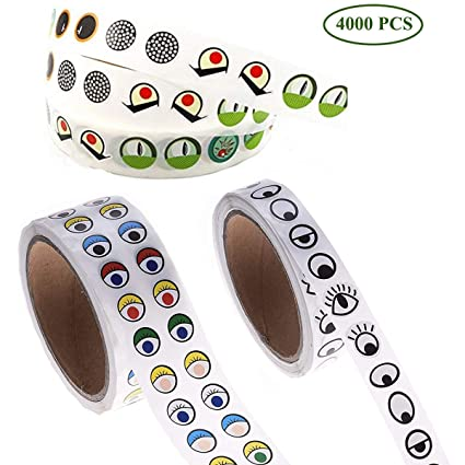 Amazon Com Fumark 3rolls Assorted 4000pcs Eye Stickers For Children