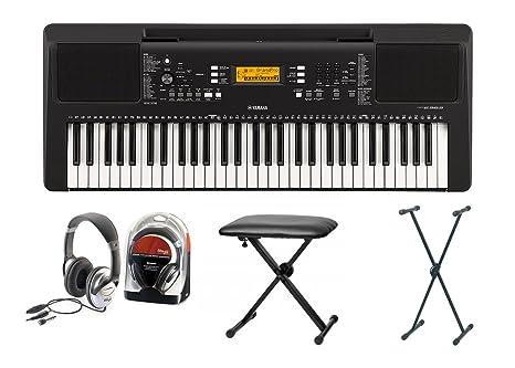 Yamaha 363 Keyboard Set IV con soporte, banco, y auriculares